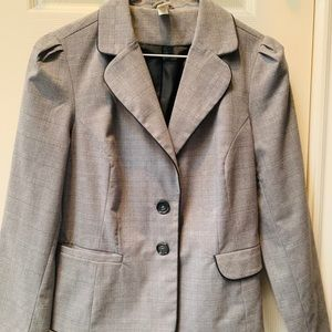 Old Navy Plaid Patterned Grey Blazer